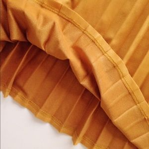 SmilingBear Skirts - NWT Suede pleated midi skirt mustard yellow
